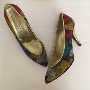 Vintage Charles Jourdan Paris patterned Heels